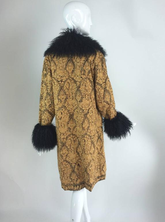 Gold crewel embroidered coat with Mongolian lamb collar & cuffs 1960s For Sale 3