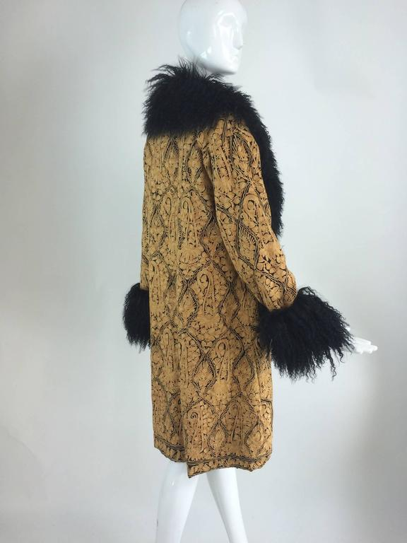 Gold crewel embroidered coat with Mongolian lamb collar & cuffs 1960s For Sale 2
