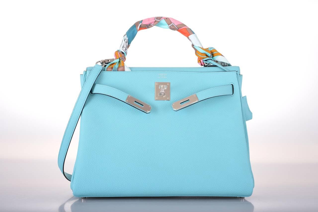 HERMES KELLY Bag BLUE BLEU ATOLL TOGO PALL HARDWARE JaneFinds For ...