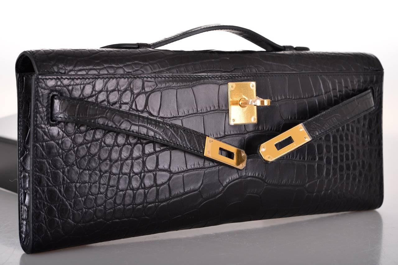 how to spot a fake hermes bag - HERMES KELLY BLACK MATTE CROCODILE Bag KELLY CUT CLUTCH POCHETTE ...