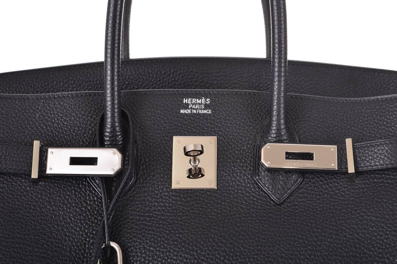 Hermes Birkin Bag 35cm Black Togo Palladium Hardware New