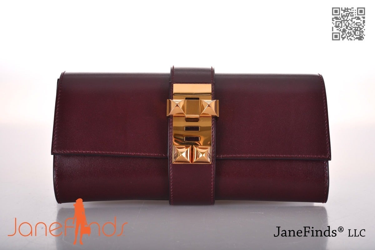Omg Wow Color Hermes Medor Clutch Prune With Gold Hardware At 1stdibs