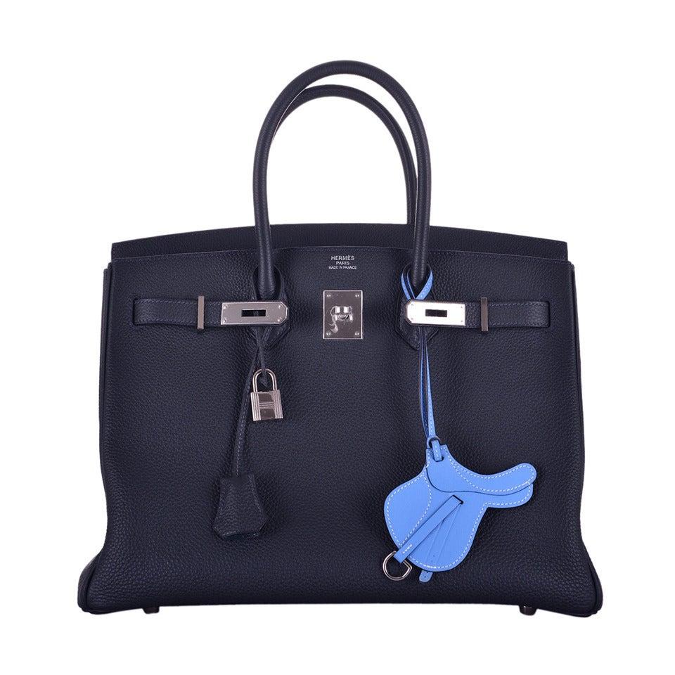 DREAMY HERMES BIRKIN BAG 35cm BLUE OCEAN INKY BLUE 2DIE!