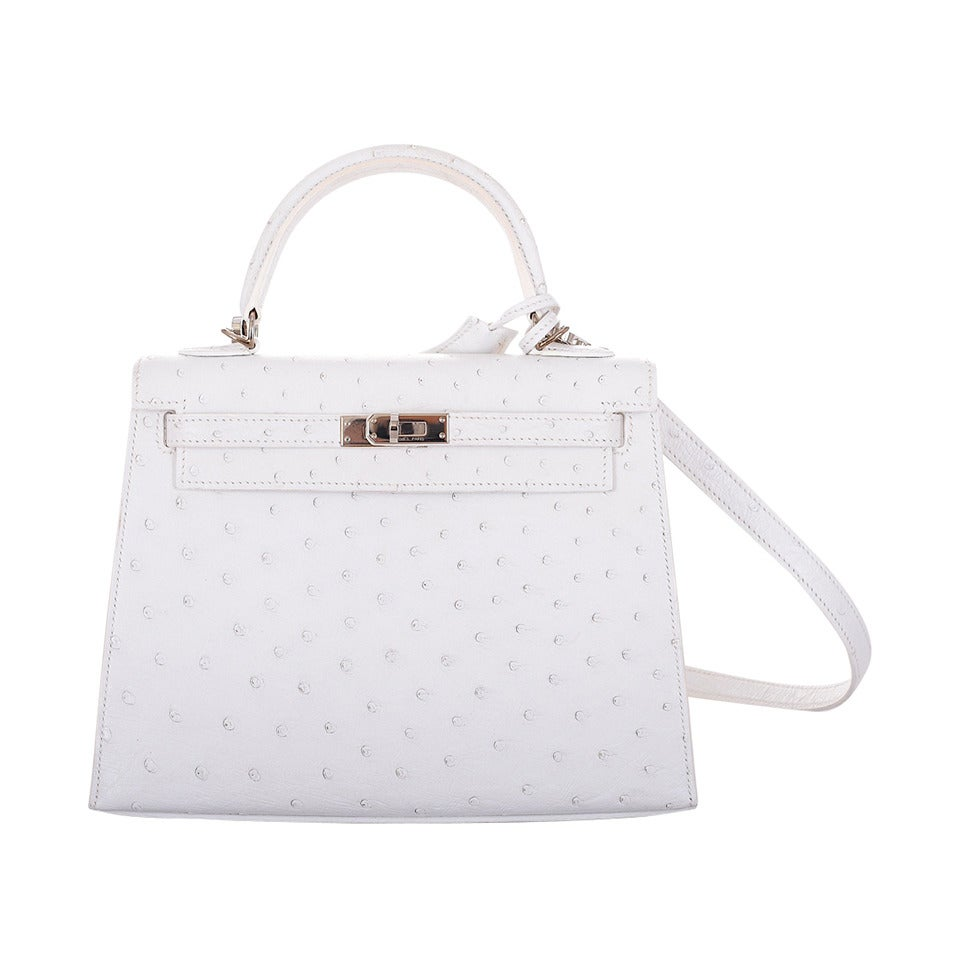 SUPER RARE HERMES KELLY BAG 25cm WHITE OSTRICH FABULOSITY JF FAVE ...
