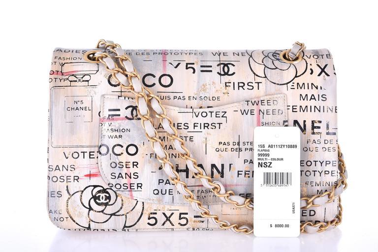 Women's or Men's Chanel Medium Graffiti Logo Newspaper Print Double Flap Bag RUNWAY JaneFinds