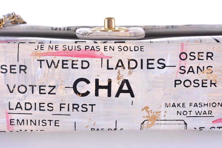 Chanel Medium Graffiti Logo Newspaper Print Double Flap Bag RUNWAY JaneFinds 1