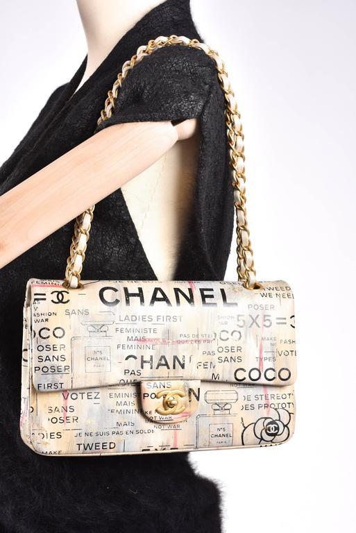 Chanel Medium Graffiti Logo Newspaper Print Double Flap Bag RUNWAY JaneFinds 6