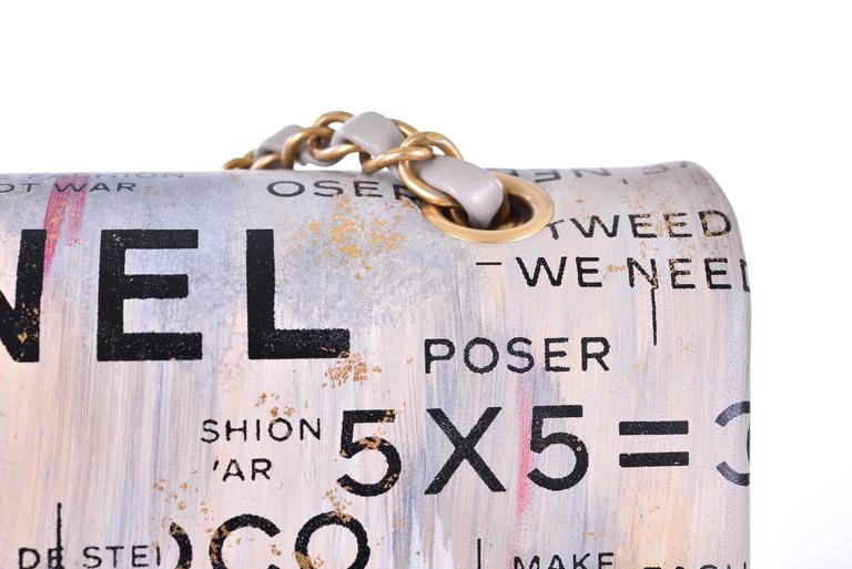 Chanel Medium Graffiti Logo Newspaper Print Double Flap Bag RUNWAY JaneFinds 2