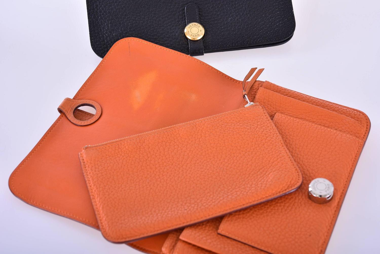 hermes kelly wallet clutch feu orange chevre palladium hardware