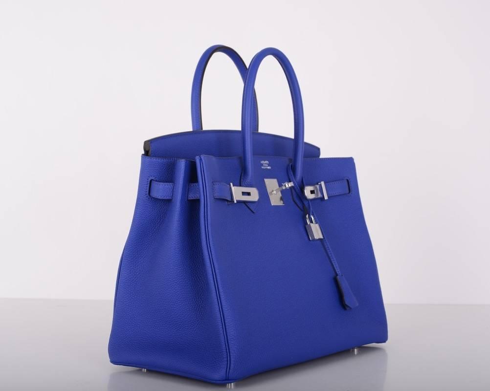 birkin bag fake - Hermes 35cm Birkin Bag Blue Electric Palladium Hardware Togo ...