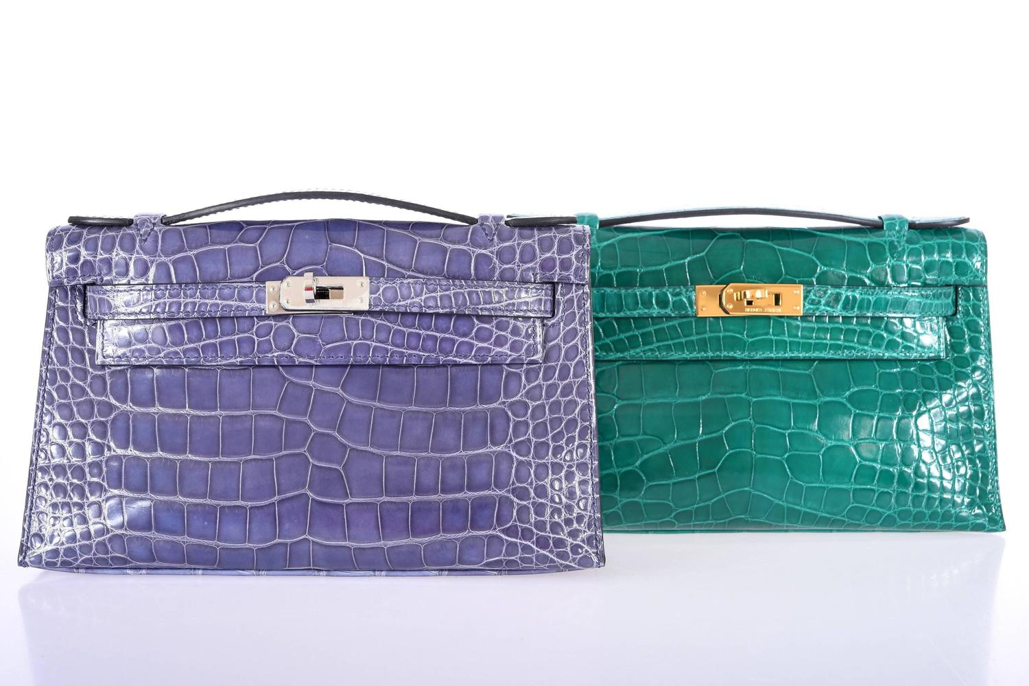 Hermes Kelly Bag Pochette Blue Brighton Alligator ...