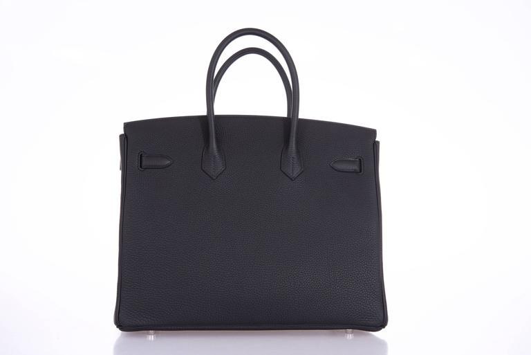 Hermes 35cm Birkin Bag Black Togo * Blue Agate interior LIMITED EDITION 2