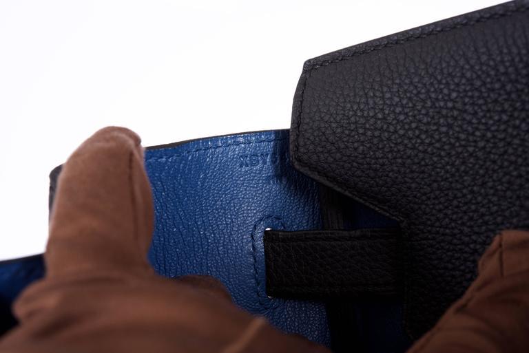 Hermes 35cm Birkin Bag Black Togo * Blue Agate interior LIMITED EDITION 3
