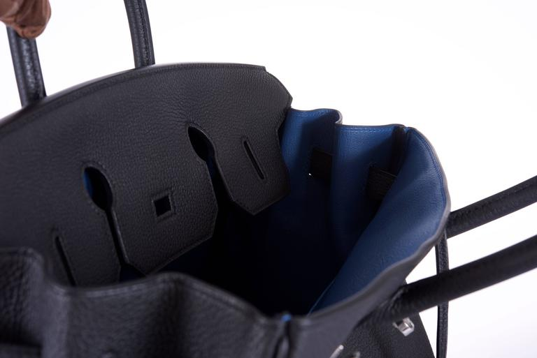 Hermes 35cm Birkin Bag Black Togo * Blue Agate interior LIMITED EDITION 4