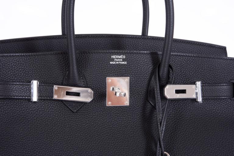 Hermes 35cm Birkin Bag Black Togo * Blue Agate interior LIMITED EDITION 5