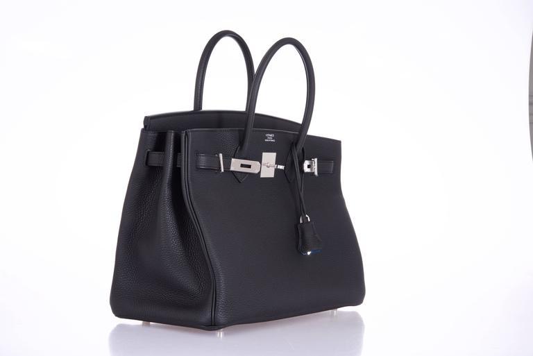 Hermes 35cm Birkin Bag Black Togo * Blue Agate interior LIMITED EDITION 6