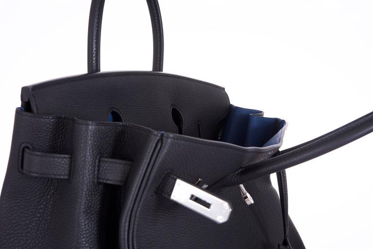 Hermes 35cm Birkin Bag Black Togo * Blue Agate interior LIMITED EDITION 7