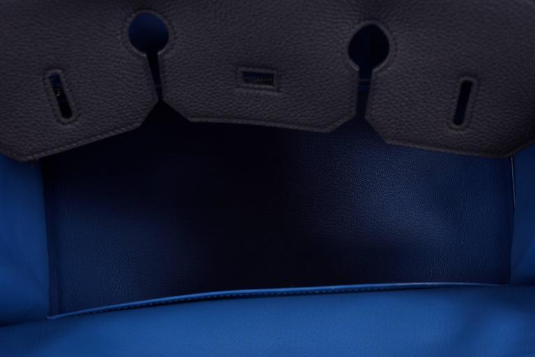 Hermes 35cm Birkin Bag Black Togo * Blue Agate interior LIMITED EDITION 8