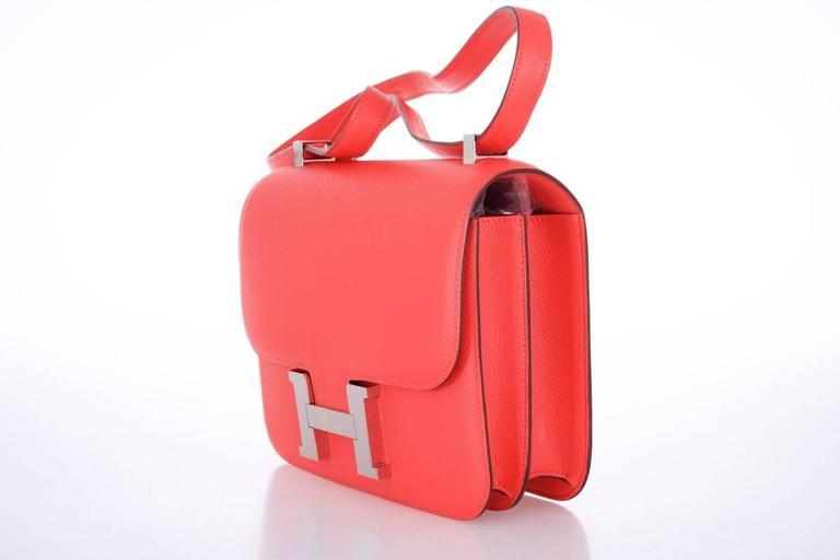 Hermes Constance 24cm Rose Jaipur Palladium Hardware 8