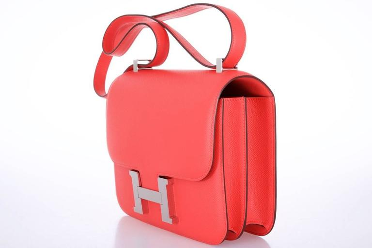 Hermes Constance 24cm Rose Jaipur Palladium Hardware 6