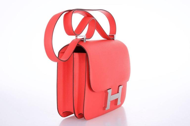 Hermes Constance 24cm Rose Jaipur Palladium Hardware 4