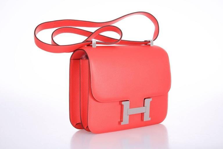 Hermes Constance 24cm Rose Jaipur Palladium Hardware 9