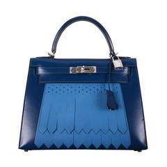 HERMES KELLY 28cm GOLF BOX LEATHER BLUE DE PRUSSE BLEU DE GALICE