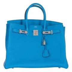 NEW COLOR Hermes 35cm Birkin Bag Blue Zanzibar Palladium hardware