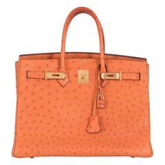 Hermes 35cm Birkin Ostrich Orange Gold Hardware