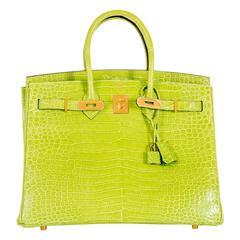 Hermes Birkin Bag 35cm Vert Anis Green Crocodile Gold Hardware