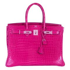 Hermes Birkin 35cm Crocodile Pink Fuchsia Palladium Hardware