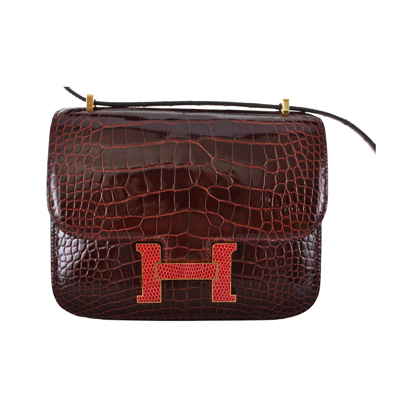 HERMES CONSTANCE BAG ALLIGATOR 18cm BOURGOGNE PINK LIZARD 2 DIE ...