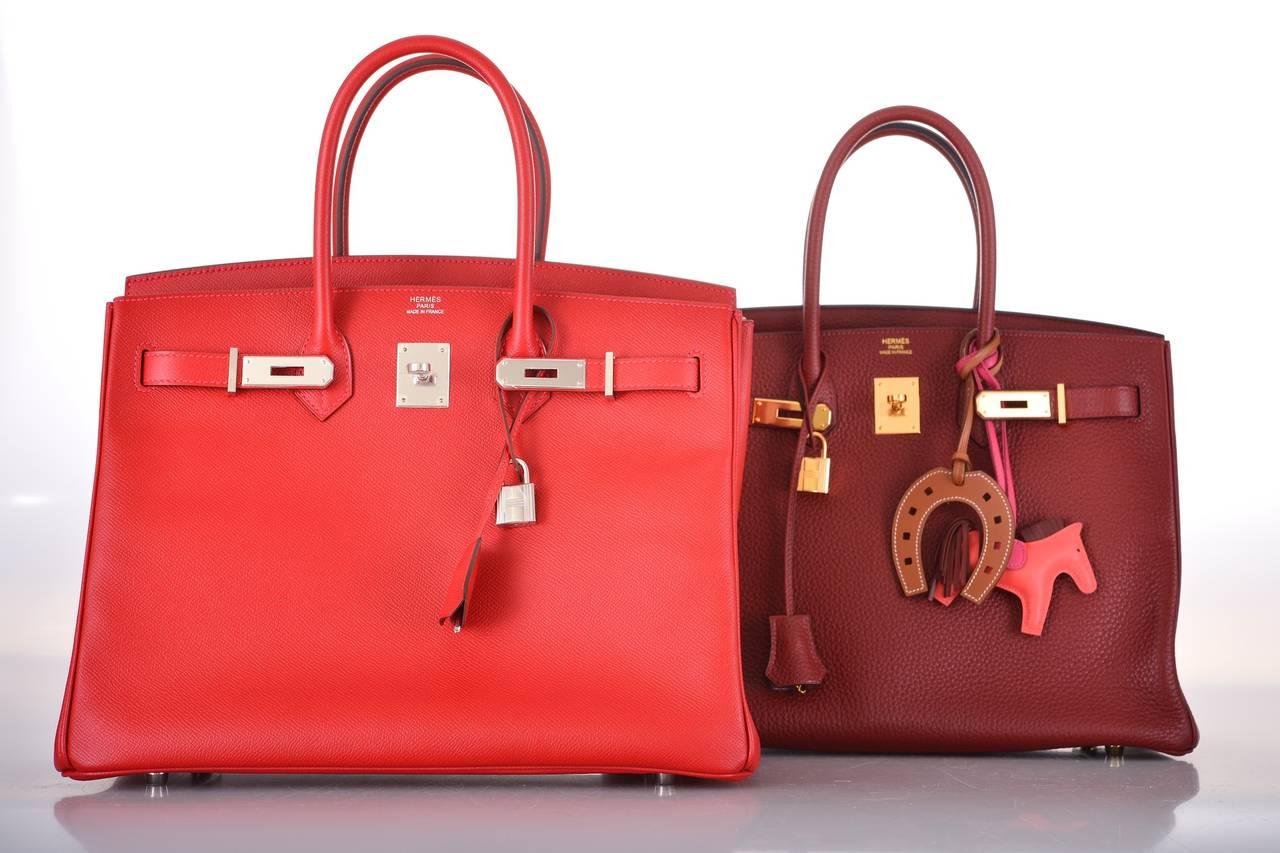 NEW CANDY COLOR! HERMES BIRKIN BAG 35cm RED ROUGE CASAQUE EPSOM ...