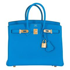 Hermes Birkin 25 Blue Zanzibar Togo Leather Gold Hardware