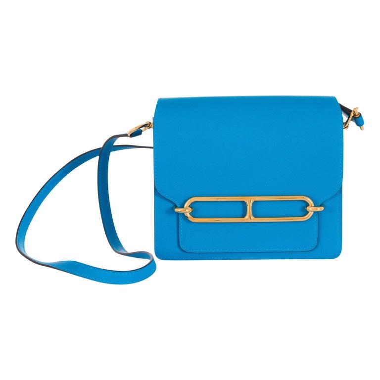 Hermes Mini Roulis Blue Zanzibar Gold Hardware at 1stdibs