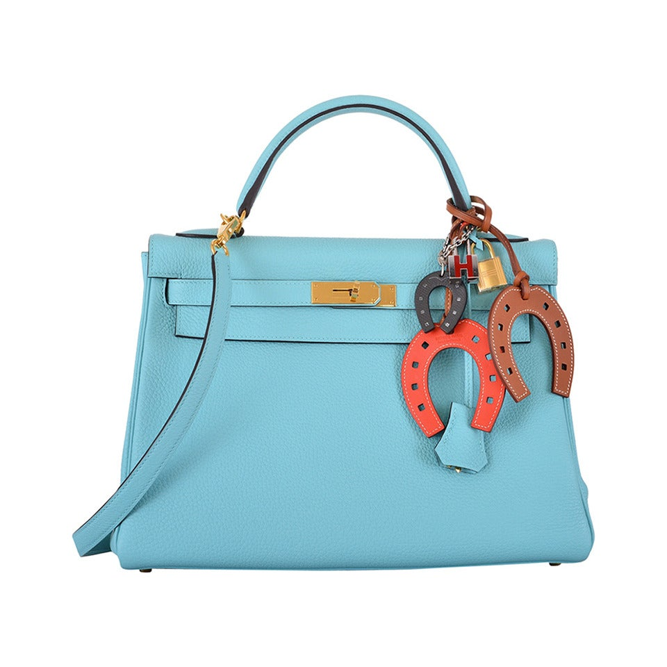 hermes kelly bag blue bleu atoll togo palladium hardware