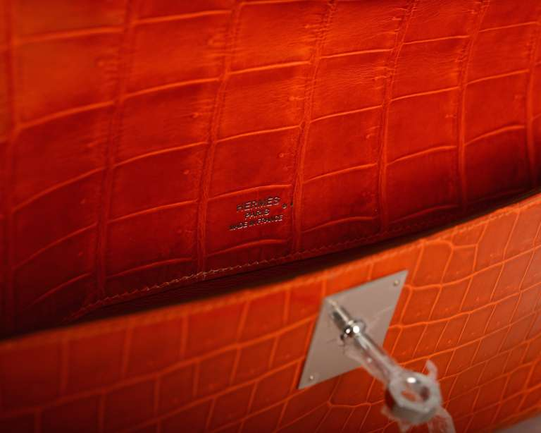 HERMES KELLY ORANGE CROCODILE BAG KELLY Cut CLUTCH POCHETTE ...