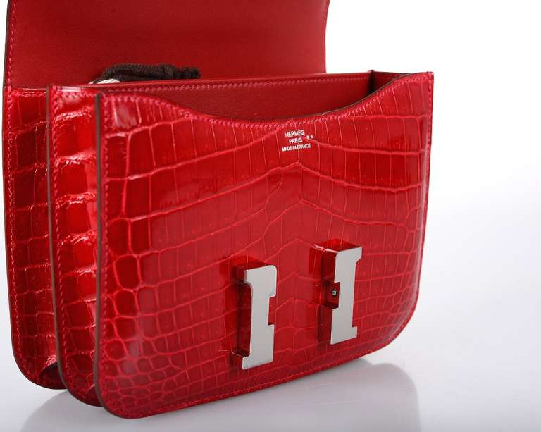 U WILL FLIP HERMES CONSTANCE NILO CROCODILE HOT RED BRAISE BAG ...