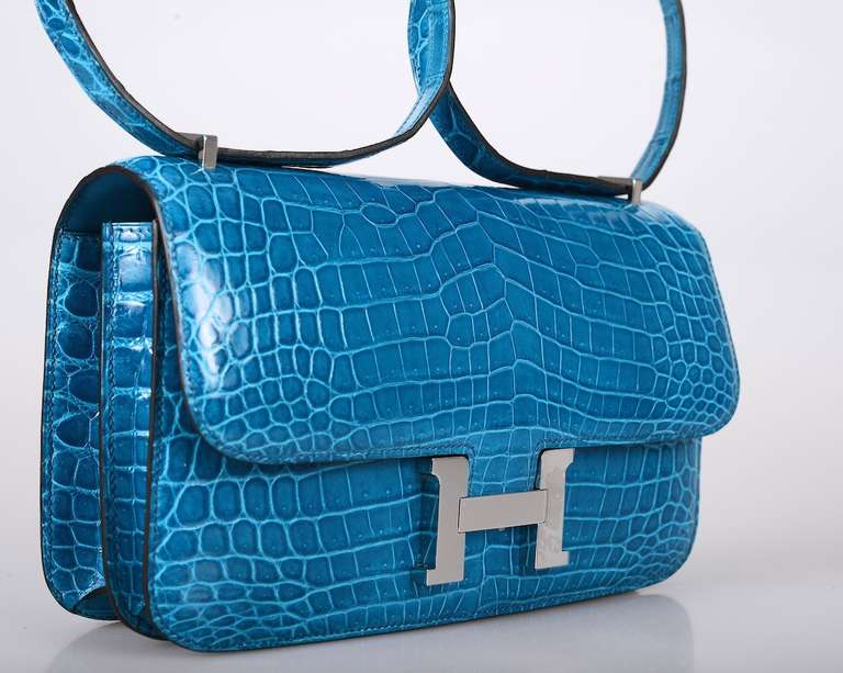 SUPER RARE BAG HERMES CONSTANCE ELAN Blue IZMIR NILO CROCODILE For ...