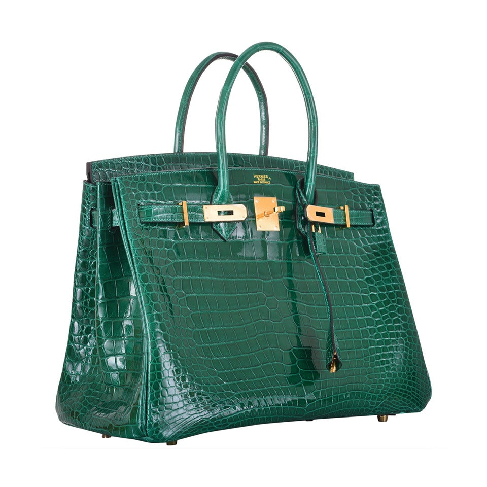 hermes birkin bag 35cm emerald green crocodile vert emeraude janefinds