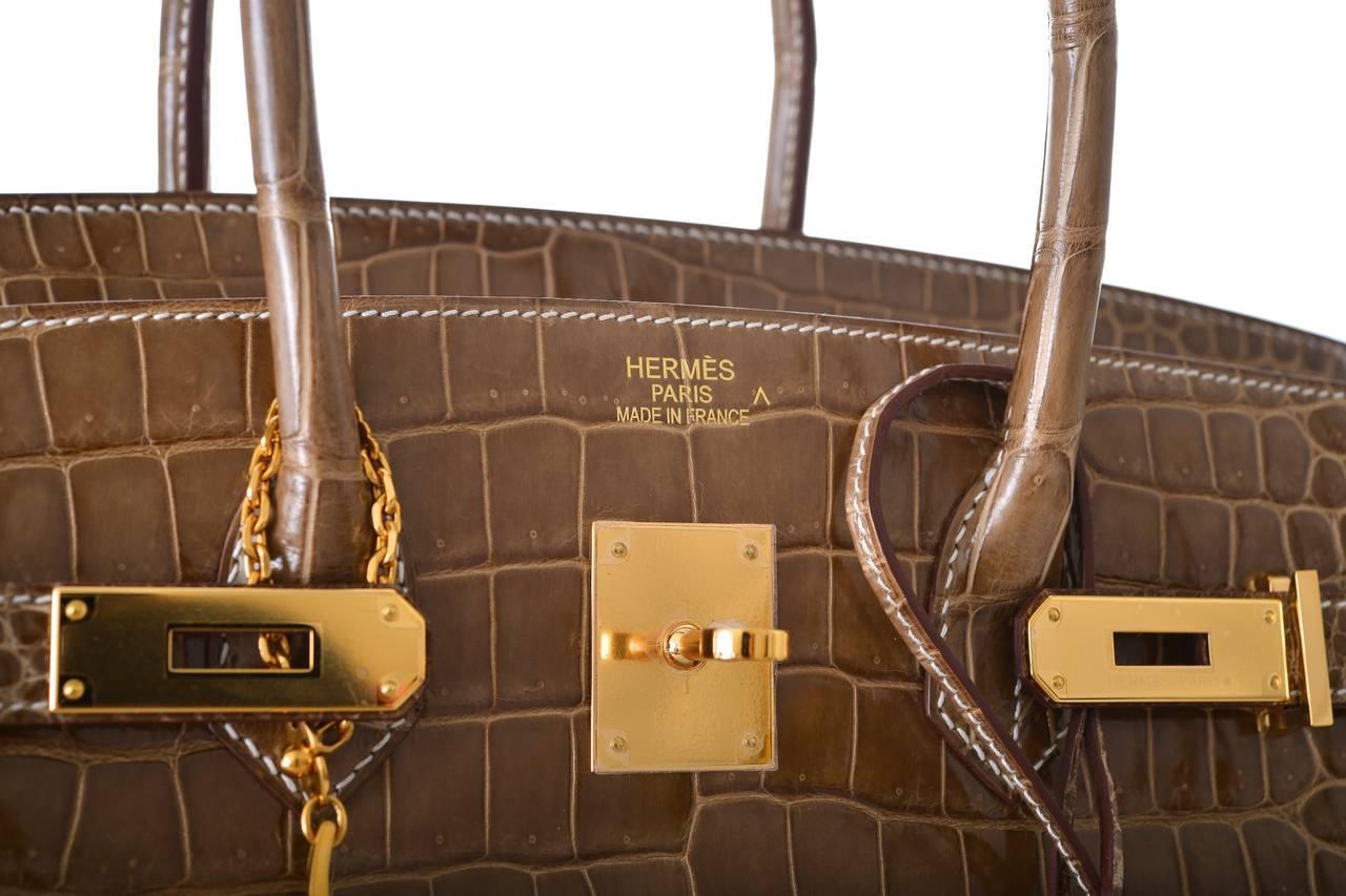 inexpensive hermes purse - SUPER RARE HERMES BIRKIN BAG 35cm FICELLE CROCODILE GHW POROSUS ...