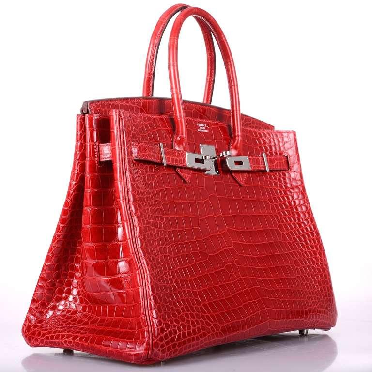brown birkin bag - HERMES BIRKIN BAG RED 35cm CROCODILE RED BRAISE PALL HARWARE at ...