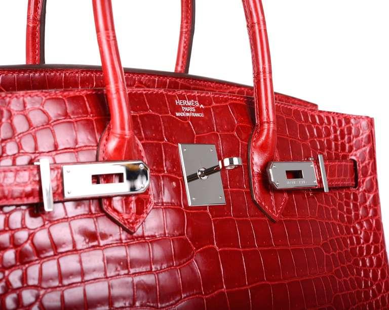 bcd1350b17cf HERMES BIRKIN BAG RED 35cm CROCODILE RED BRAISE PALL HARWARE at .