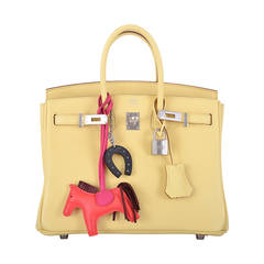 JUSTWOW NEW COLOR HERMES BIRKIN BAG 25cm JAUNE POUSSIN PHW