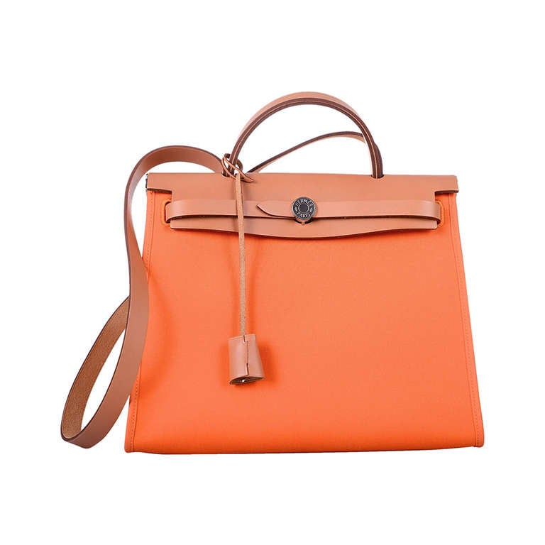 NEW PERFECT HERMES ZIP HERBAG Orange CROSSBODY CANVAS and LEATHER ...