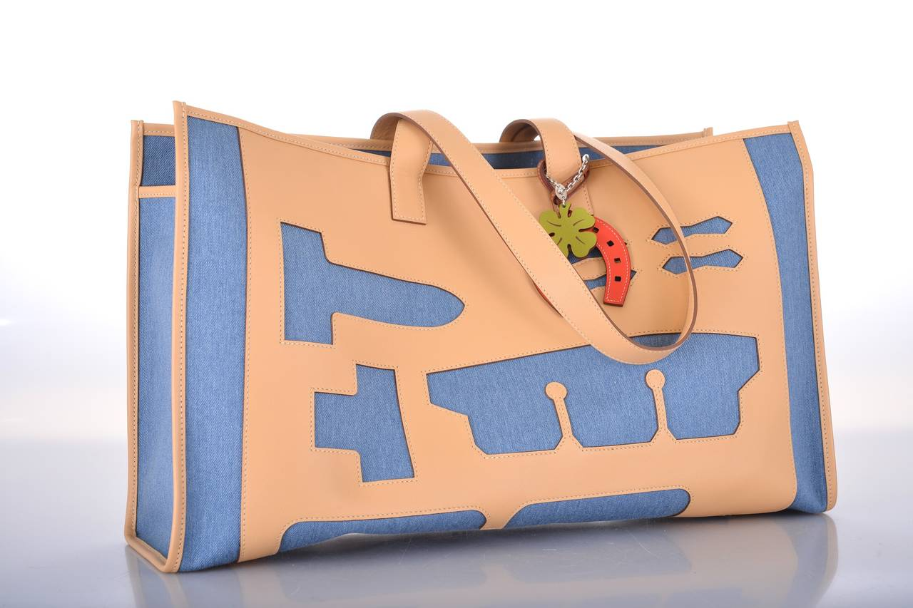 kelly handbags - HERMES PETIT H SKELETON DENIM and LEATHER TOTE Bag LIMITED EDITION ...
