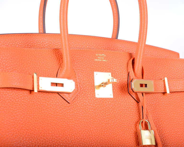 HERMES BIRKIN BAG 35cm HOT FEU FIRE ORANGE 35CM GOLD HARDWARE ...