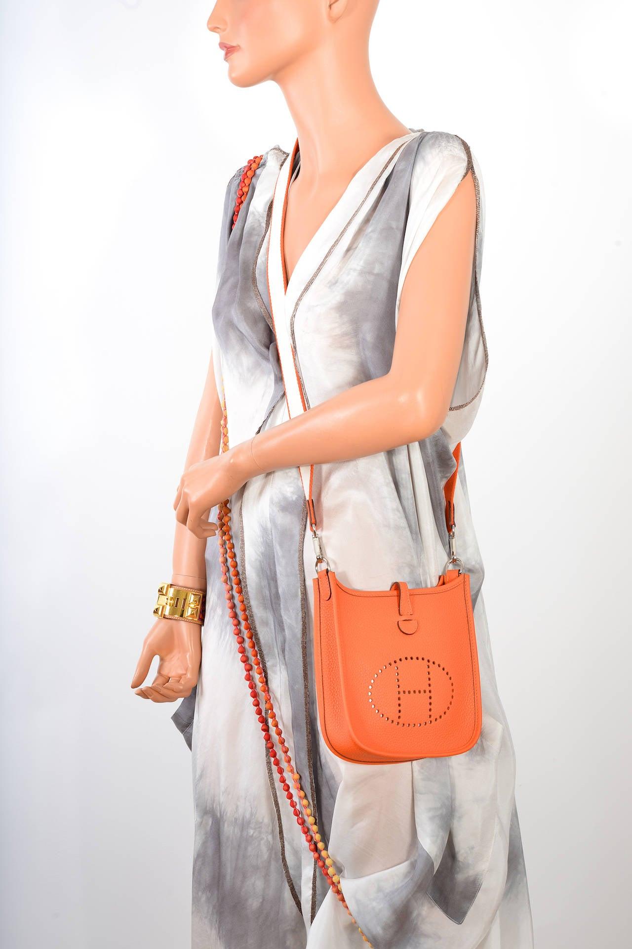 replica birkin handbags - HERMES EVELYNE TPM MINI HOT ORANGE WITH REMOVABLE AMAZONE STRAP ...