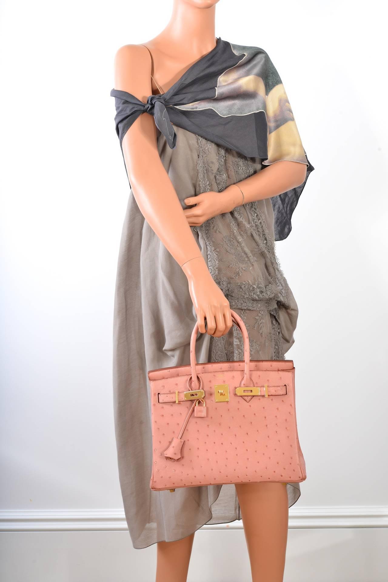 hermes birkin purse - HERMES BIRKIN BAG 30cm OSTRICH TERRE CUITIE PINK GOLD HARDWARE ...