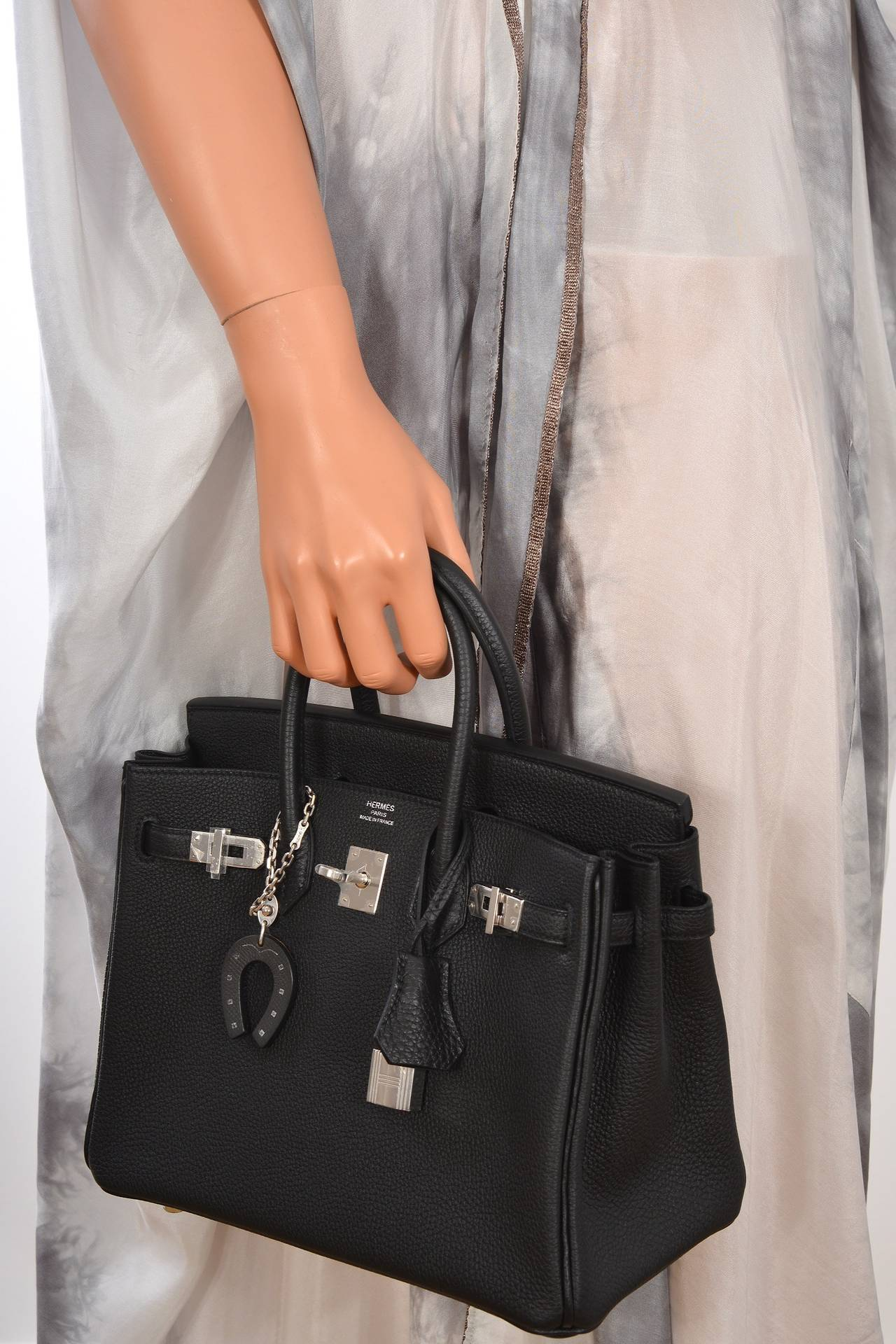 hermes birkin bag 30 black ostrich leather silver hardware